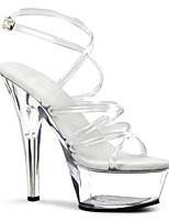 cheap -Women's Sandals Stiletto Heel Peep Toe PU British Summer Clear