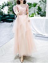 cheap -A-Line Jewel Neck Floor Length Tulle Glittering / Pink Engagement / Prom Dress with Sequin / Tier 2020