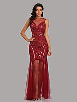 cheap -A-Line Illusion Neck Floor Length Tulle / Sequined Sparkle / Red Formal Evening / Party Wear Dress with Sequin 2020