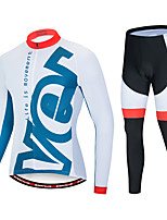 cheap -EVERVOLVE Men's Long Sleeve Cycling Jersey with Tights Polyester White Geometic Bike Clothing Suit Thermal / Warm 3D Pad Quick Dry Sweat-wicking Sports Solid Color Mountain Bike MTB Road Bike Cycling