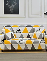 cheap -Geometric Yellow Triangle Print Dustproof Stretch Slipcovers Stretch Sofa Cover Super Soft Fabric Couch Cover (You will Get 1 Throw Pillow Case as free Gift)
