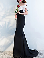 cheap -Sheath / Column Off Shoulder Sweep / Brush Train Polyester Black / White Engagement / Formal Evening Dress with Ruffles 2020