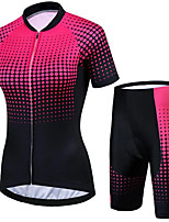 cheap -21Grams Women's Short Sleeve Cycling Jersey with Shorts Black / Red Bike Clothing Suit Breathable 3D Pad Quick Dry Ultraviolet Resistant Sweat-wicking Sports Solid Color Mountain Bike MTB Road Bike