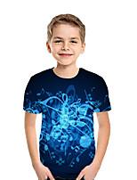 cheap -Kids Boys' Active Street chic Geometric 3D Patchwork Print Short Sleeve Tee Rainbow