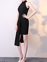 cheap -Sheath / Column Jewel Neck Asymmetrical Polyester Little Black Dress / Elegant Cocktail Party / Homecoming Dress with Split 2020