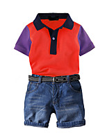 cheap -Toddler Boys' Basic Birthday Party Party & Evening Solid Colored Short Sleeve Regular Regular Clothing Set Purple
