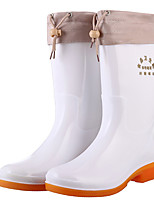 cheap -Women's Boots Flat Heel Round Toe PVC Mid-Calf Boots Winter White