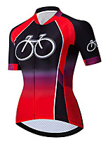 cheap -21Grams Women's Short Sleeve Cycling Jersey 100% Polyester Black / Red Pink Gradient Bike Jersey Top Mountain Bike MTB Road Bike Cycling UV Resistant Breathable Quick Dry Sports Clothing Apparel