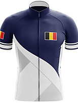 cheap -21Grams Men's Short Sleeve Cycling Jersey 100% Polyester Blue / White Belgium National Flag Bike Jersey Top Mountain Bike MTB Road Bike Cycling UV Resistant Breathable Quick Dry Sports Clothing