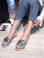 cheap -Women's Sandals Flat Heel Open Toe PU Summer Silver / Black