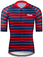 cheap -21Grams Men's Short Sleeve Cycling Jersey 100% Polyester Black / Red Stripes Bike Jersey Top Mountain Bike MTB Road Bike Cycling UV Resistant Breathable Quick Dry Sports Clothing Apparel / Stretchy