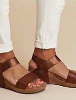cheap -Women's Sandals Wedge Heel Round Toe PU Spring & Summer Light Brown / Leopard / Light Grey