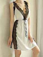 cheap -Women's Backless / Cut Out / Ruffle Suits Nightwear Jacquard / Solid Colored Black White Red One-Size