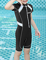 cheap -Boys' Girls' Rash Guard Dive Skin Suit Bodysuit Breathable Short Sleeve Front Zip - Swimming Water Sports Patchwork Autumn / Fall Spring Summer / Kid's