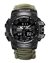 cheap -Men's Sport Watch Quartz Sporty woven Black / Green 30 m Water Resistant / Waterproof Calendar / date / day Chronograph Analog - Digital Outdoor Army - Green Black Two Years Battery Life