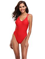 cheap -Women's Beach Girl Vintage 1980s Bikini Peplum Swimsuit Monokini Polyster Solid Color Red Leotard / Onesie
