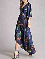 cheap -Women's Sheath Dress - Floral Blue S M L XL