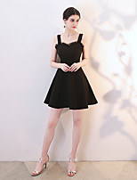 cheap -A-Line Sweetheart Neckline Short / Mini Spandex Hot / Black Party Wear / Cocktail Party Dress with Pleats 2020