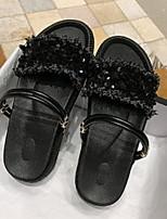 cheap -Women's Sandals Flat Heel Round Toe PU Spring & Summer Black / Rainbow