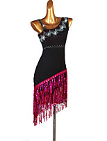 cheap -Latin Dance Dresses Women's Performance Spandex Tassel / Crystals / Rhinestones / Paillette Sleeveless Dress