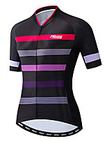 cheap -21Grams Women's Short Sleeve Cycling Jersey 100% Polyester Black / Red Stripes Bike Jersey Top Mountain Bike MTB Road Bike Cycling UV Resistant Breathable Quick Dry Sports Clothing Apparel / Stretchy