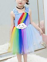 cheap -Kids Girls' Cute Blue & White Rainbow Cartoon Mesh Patchwork Sleeveless Knee-length Dress White