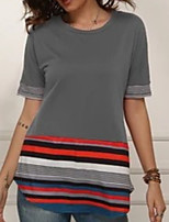cheap -Women's Daily T-shirt - Striped / Solid Colored Black