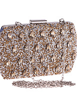 cheap -Women's Crystals / Chain Polyester Evening Bag Solid Color Gold / Silver / Blue