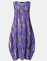 cheap -Women's Shift Dress - Print Purple Maxi Blue M L XL XXL