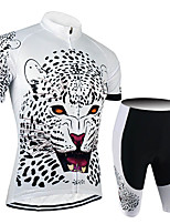 cheap -21Grams Men's Short Sleeve Cycling Jersey with Shorts Black / White Animal Tiger Bike Clothing Suit UV Resistant Breathable 3D Pad Quick Dry Sweat-wicking Sports Solid Color Mountain Bike MTB Road