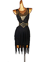 cheap -Latin Dance Dresses Women's Performance Spandex Tassel / Crystals / Rhinestones Sleeveless Dress