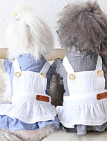 cheap -Dog Costume Dress Dog Clothes Breathable Blue Gray Costume Beagle Bichon Frise Chihuahua Cotton Solid Colored Lace Cosplay Cute XS S M L XL