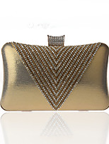 cheap -Women's Crystals / Chain Polyester Evening Bag Solid Color Black / Wine / Purple