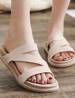 cheap -Women's Sandals Flat Heel Round Toe PU Spring & Summer Black / White / Pink