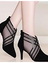 Недорогие -Жен. Обувь на каблуках На шпильке Заостренный носок Полиуретан Лето Черный / Серый