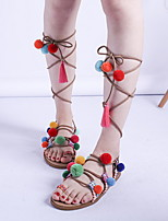 cheap -Women's Sandals Boho Flat Heel Round Toe Synthetics Summer Rainbow