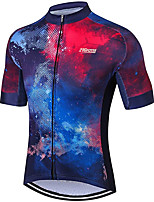 cheap -21Grams Men's Women's Short Sleeve Cycling Jersey 100% Polyester Red+Blue Gradient Bike Jersey Top Mountain Bike MTB Road Bike Cycling UV Resistant Breathable Quick Dry Sports Clothing Apparel