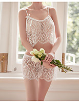 cheap -Women's Lace / Backless / Mesh Suits Nightwear Jacquard / Solid Colored Black White Red One-Size