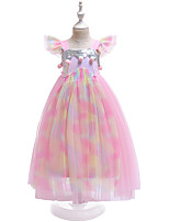 cheap -Kids Girls' Active Boho Unicorn Color Block Rainbow Sequins Mesh Lace Trims Sleeveless Midi Dress Blushing Pink