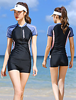 cheap -Women's Tankini Two Piece Swimsuit Elastane Swimwear UV Sun Protection Breathable Quick Dry Short Sleeve Front Zip - Swimming Surfing Water Sports Patchwork Summer / High Elasticity