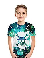 cheap -Kids Boys' Active Street chic Geometric Color Block 3D Short Sleeve Tee Blue