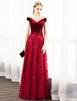 cheap -A-Line Illusion Neck / Jewel Neck Floor Length Lace / Velvet Glittering / Red Party Wear / Formal Evening Dress with Crystals / Appliques 2020