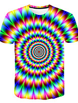 cheap -Kids Boys' Basic Street chic Color Block 3D Rainbow Print Short Sleeve Tee Rainbow