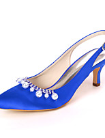 cheap -Women's Wedding Shoes Stiletto Heel Pointed Toe Rhinestone / Pearl Satin Sweet Spring & Summer White / Purple / Champagne / Party & Evening