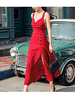 cheap -Women's Sheath Dress - Polka Dot Maxi Red S M L XL