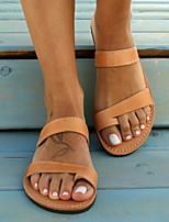cheap -Women's Sandals Flat Heel Round Toe PU Summer Almond