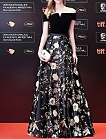 cheap -A-Line Off Shoulder Floor Length Polyester Floral / Black Prom / Formal Evening Dress with Pattern / Print 2020