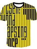 cheap -Kids Boys' Basic Street chic Striped Color Block 3D Print Short Sleeve Tee Yellow