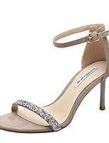 cheap -Women's Sandals Stiletto Heel Round Toe Suede Summer Black / Khaki