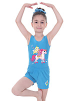 cheap -Gymnastics Suits Gymnastics Leotards with Shorts Girls' Kids Shorts Spandex High Elasticity Breathable Butterfly Unicorn Sleeveless Training Ballet Dance Gymnastics Black
